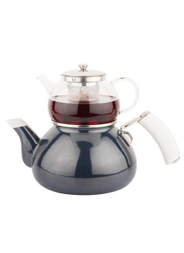 Lacivert Emaye Çaydanlık Takımı-Tantitoni